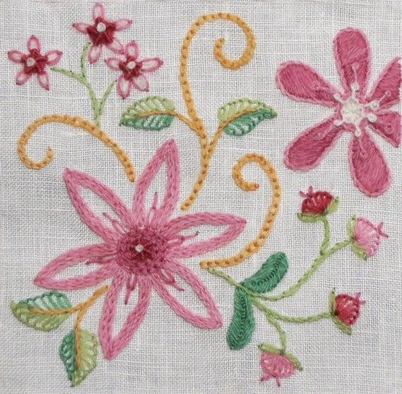 Crewel embroidery kit dahlia pin cushion scissor