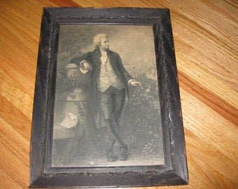 "MOZART ANTIQUE PRINT In Original 1800's Frame 11"" x 14 3/4"""