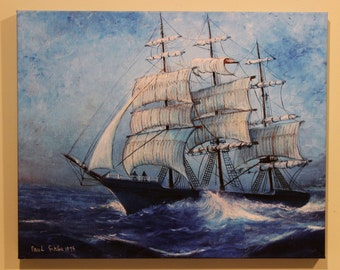 SAILBOAT CANVAS PRINT . My Original Oil Painting '' Old Ship in the waves''.The canvas print is 20'' x 16'' X 1''