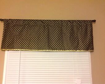 Handmade Window Valance 15L x 42W in black/Gold Shimmery Polka Dot, Home Decor,, Ready to Ship