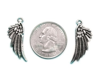 6 Antique Silver Fancy Angel Wing Charms - Double Sided