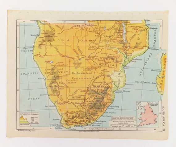 1943 South Africa Map Vintage Map Of South Africa Home