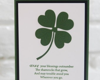 Irish Blessing Shamrock Hand Made Card, St. Patrick's Day Greeting Card, Good Luck Irish Blessing Card, All Occasion Celtic Note Card