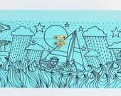 Owl & the Pussy-cat, personalised, Wooden Memory Box, Keepsake Box, Jewellery Box, Treasure chest, aqua blue, hand drawn illustrations