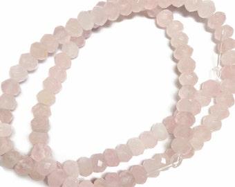 Rose quartz faceted rondelles.  Select a size: 6.25mm, 8mm