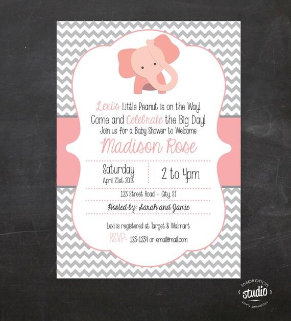 elephant baby shower little peanut on the way custom printable