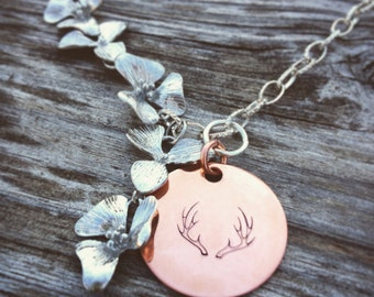 Orchid Flower Antler Deer Hunter Neclace - 19 inches in length