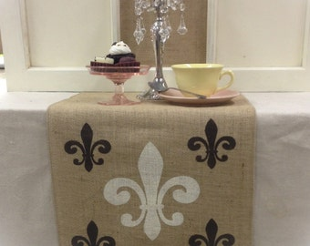 """Burlap Table Runner 12"""", 14"""", or 15"""" wide with a Fleur de Lis pattern on the both ends - Holiday decorating Home decor"""
