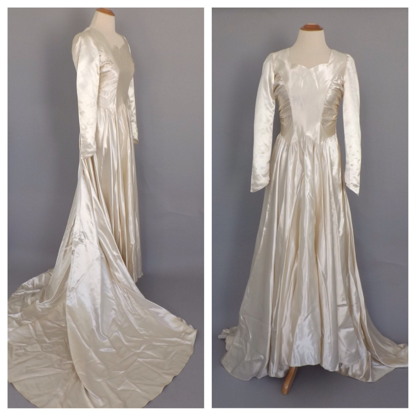 Vintage 1940s Ivory White Satin Wedding Gown Fitted Long