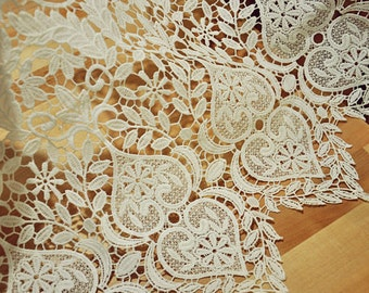 Antique style ivory lace trim, crochet fabric lace fabric trim