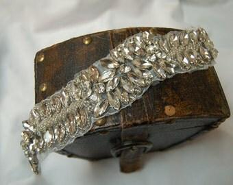 Beautiful hot-fix or sew-on applique beaded with crystal rhinestones,Headbands, DIY, Wedding, Bridal Accessories, Belts, Rhinestone Applique