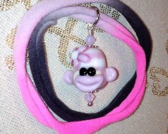 Pink Sock Monkey Necklace