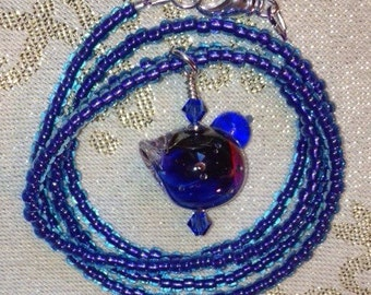 Blue & Purple Bird Necklace