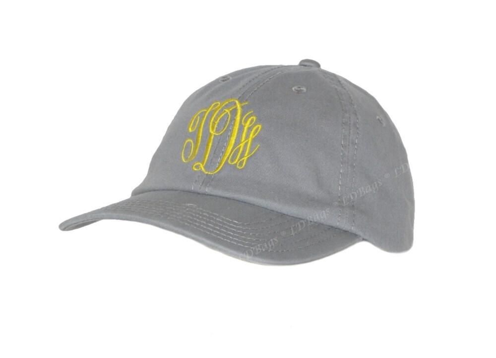 monogrammed baseball hat personalized gray baseball cap velcro