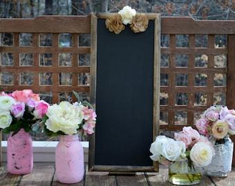 country wedding menu chalkboard, framed chalkboard, wood chalkboard, burlap wedding chalk board sign