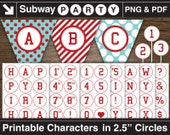 """Printable Red Letters & Numbers in 2.5"""" Circles. Alphabet for Party Banner College Sport Theme. Digital Clipart. Png, Pdf INSTANT DOWNLOAD"""