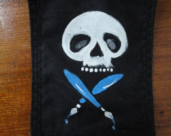 Skull and Crossed Pens Patch
