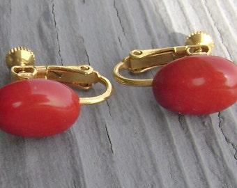 vintage Mediterranean coral screw back earrings