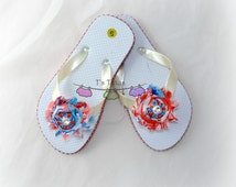 Patriotic Rhinestone Red White and Blue Shabby Chic Flip Flops for girls, bling button, patriotic shabby flip flops, size S (7-8)