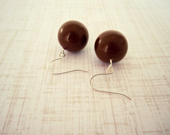 Chocolate Brown Bead Earrings - Brown Clay Jewelry, Burnt Umber, Round Bead, READY TO SHIP