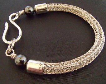 Sterling Silver Viking Knit double weave Bracelet with Hematite beads handmade