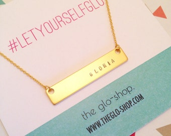 Name Plate Necklace in Gold
