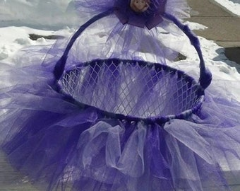 Disney TANGLED Purple TUTU Easter Basket - use as a bow holder, catch all basket. Can be made in any color or patte