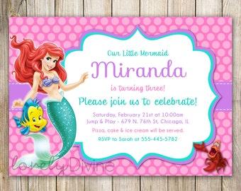 Little Mermaid Birthday Invitation, Ariel Invitation, Ariel Invite, Little Mermaid invite, 1st Birthday, 2nd, 3rd, 4th, 5th, 6th, PRINTABLE