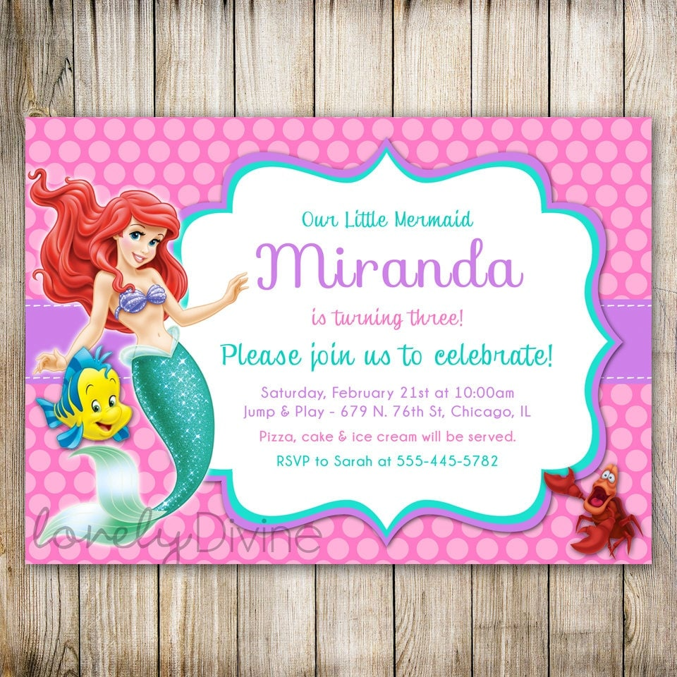 little mermaid invitation template mermaid birthday invitation ariel invitation ariel 23454 | il fullxfull.736398431 tahe