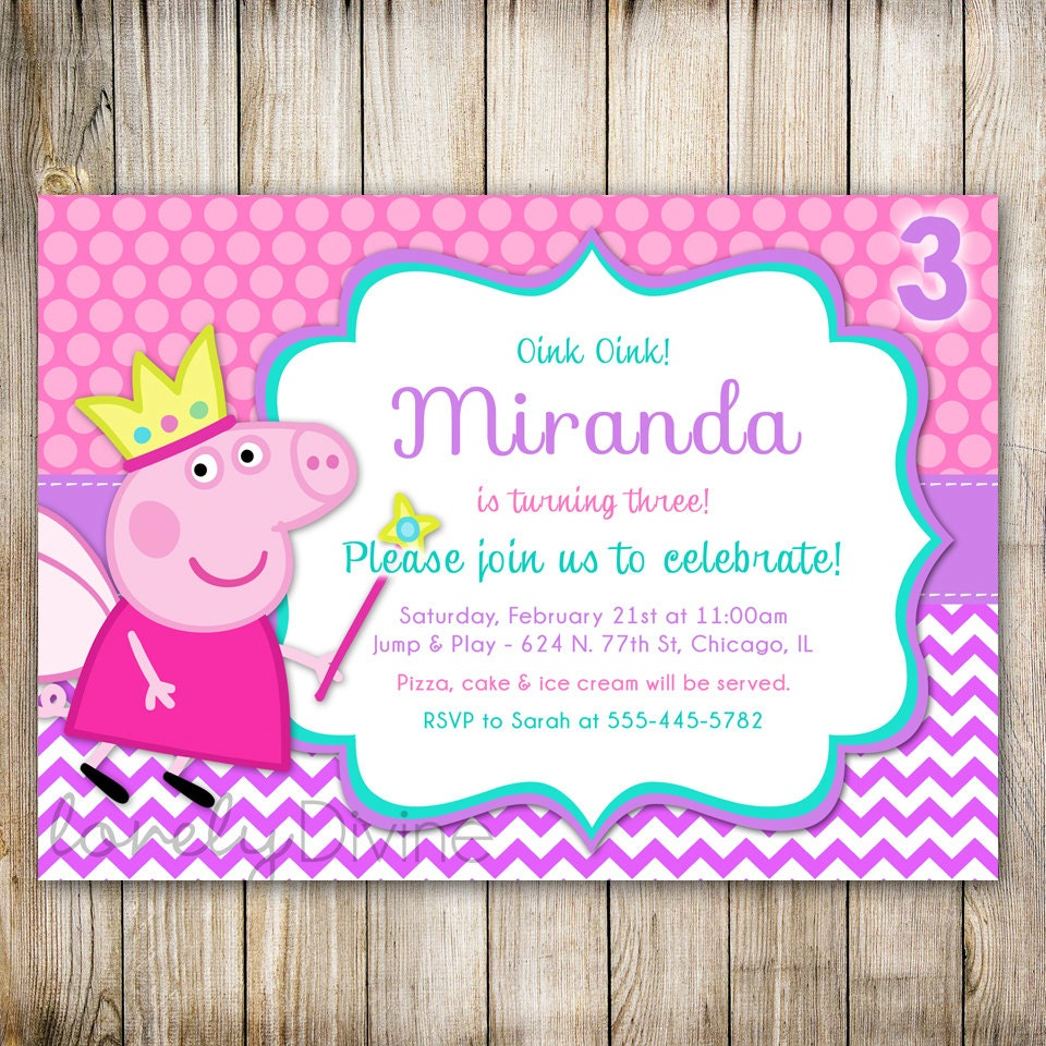Peppa Pig Birthday Card Amazing Invitation Template Design By