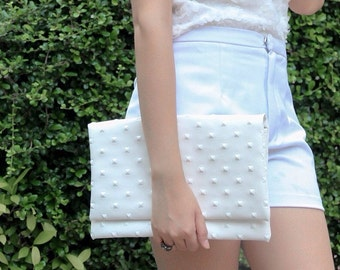 Stud White Faux Leather Clutch Pyramid Square Studded Wristlet Cross Body Bag Shoulder Handbag for Wedding Party