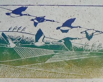 Geese linocut print