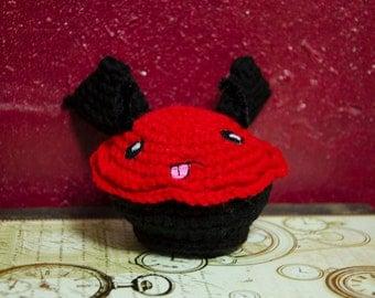 "Amigurumi Cupcake, Cuddle Cake, ""Damion the Devil's Food Cupcake"" crochet doll"