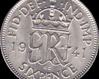 1941 Wedding Sixpence Coin - Lucky Wedding Sixpence for the Bride