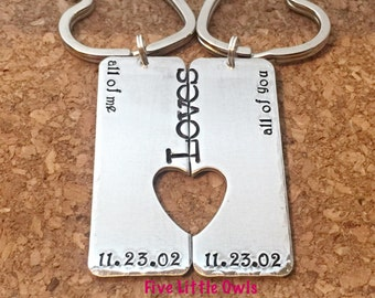 All Of Me Loves All Of You Hand Stamped Keychains with Heart - Couple Key Chain Set - His and Hers  Anniversary