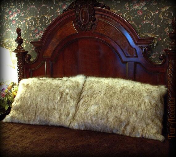 Fur Accents One Pair Of Arctic Wolf Pillow Shams Premium