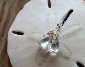 Rock Crystal Drop Earrings- Clear Stone Earrings- Crystal Earrings- Clear Crystal Earrings- April Birthstone Earrings
