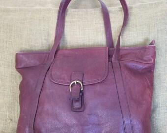 Genuine large vintage Yamani brown leather shopping tote bag shopper