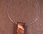 Wood pendant of spalted tamerind framed with walnut P020