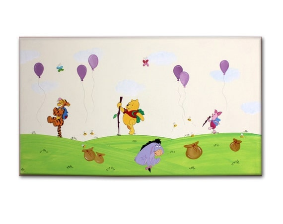 Nursery wall art canvas wall decor baby nursery art kids for Baby pooh and friends wall mural