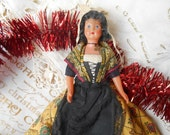 50's Provence Celluloid Doll Yellow Folk Art Costume Rustic Bonnet Hand Painted Face Black Apron Crucifix