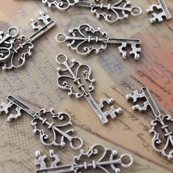 bulk 50 key charms key pendants antique silver tone skeleton