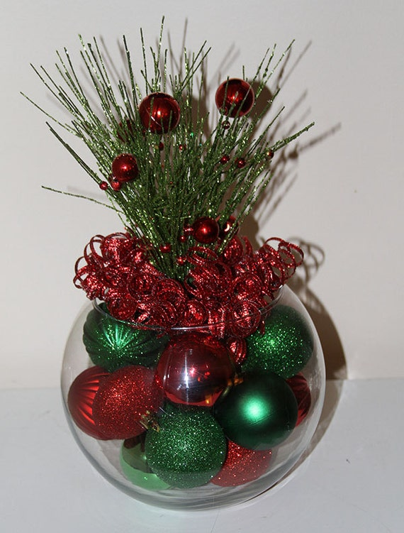 Christmas centerpiece by glitterglassandsass on etsy