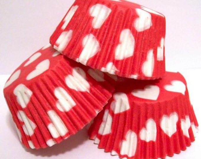SALE 50 Red White Heart Cupcake Liners, Baking Cups, Greaseproof, Professional Grade