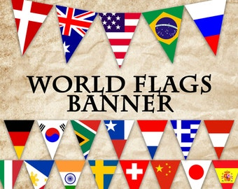 World Flags Printable Banner - Includes 64 flags in 3 sizes - Printable Banner - Printable Bunting - Printable Garland - Instant Download
