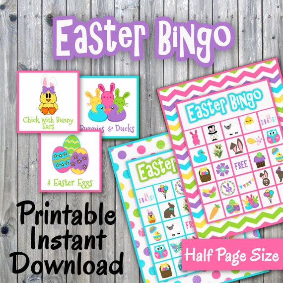 Easter Bingo Printable PDF - 30 different Cards - Half Page Size - Memory Game - Party Game Printable - INSTANT DOWNLOAD