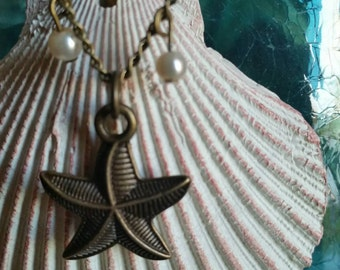 Starfish and Pearl, Brass, 18 inch necklace