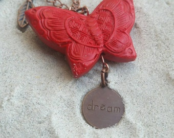 "Authentic Red Butterfly and ""Dream"" Metal Charm on 26"" Copper Chain"