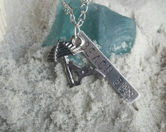 "Beach Bum- 24"" Silver Plated Necklace for the soul that can never leave the shore."