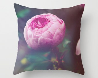 Floral Pillow // Decorative Pillow // Rose Pillow Cover // Throw Pillow Case // Flower Cushion Cover // Pink Rose Home Decor